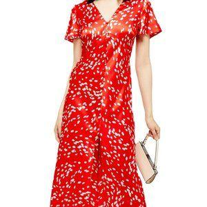 Topshop Red/White Polka Dot Midi V-neck Dress